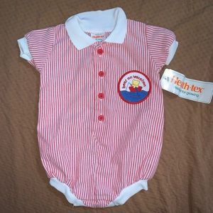 Deadstock Vintage Healthtex Bear Romper Striped